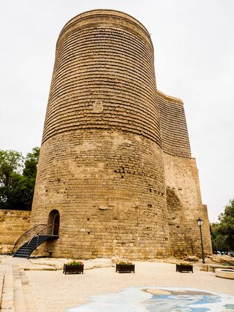 foot bridge: View of Maiden Tower in Baku with foot bridge and the entrance Stock Photo