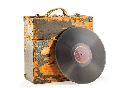 phonograph: Old phonograph disk and box on white background