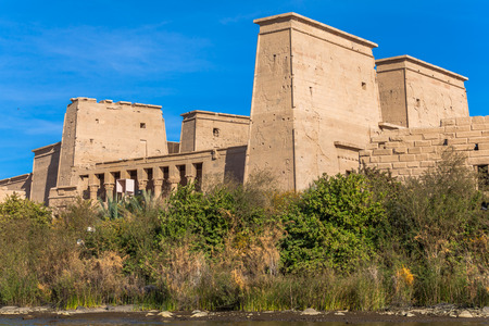 Philae Temple of Isis located on Agilkia Island in the reservoir of old Aswan Dam, Egypt photo