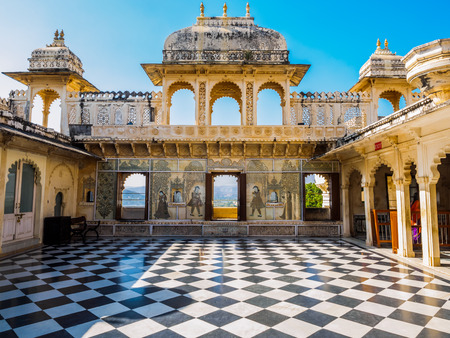 rajasthan: Courtyard at City Palace in Udaipur, Rajasthan, India Editorial