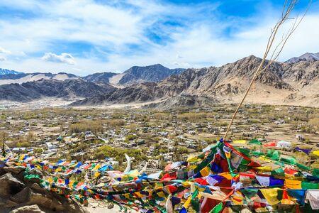 shanti: Aerial View of Leh and Shanti Stupa Ladakh India