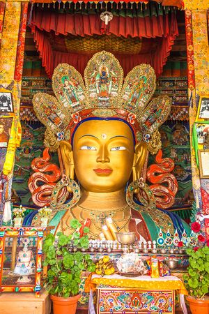 maitreya: Maitreya Buddha in Thiksey Monastery Leh Ladakh Region. India Stock Photo