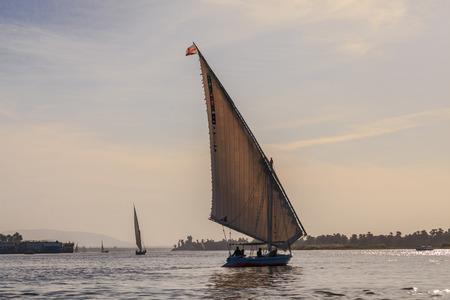 the nile: Faluka on the Nile River, Aswan, Egypt Stock Photo