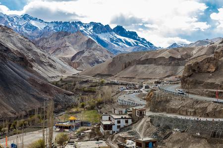 indian village: Aerial view of indian village at Lamayuru Monastery in Ladakh Region, India