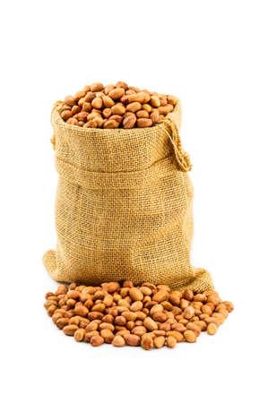 sac: Peanuts in a ramie sac on white background