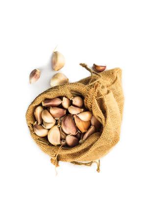 sac: High angle view of garlic in a ramie sac Stock Photo
