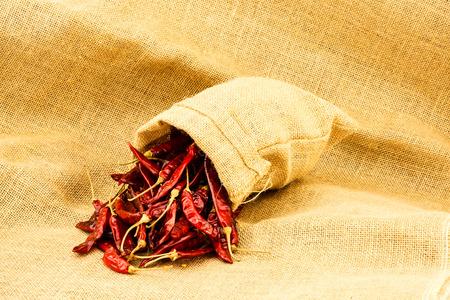 burlap sac: Dry red chili in a ramie sac