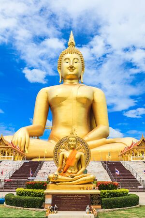 biggest: Biggest Buddha Image at Wat Muang Ang Thong Province Thailand Editorial