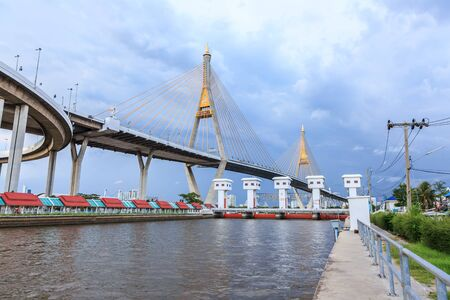 bhumibol: Bhumibol bridge over the Chao Phraya river in Bangkok, Thailand Editorial