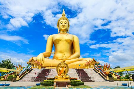 biggest: Biggest Seated Buddha statue at Wat Muang Ang Thong province Thailand Stock Photo
