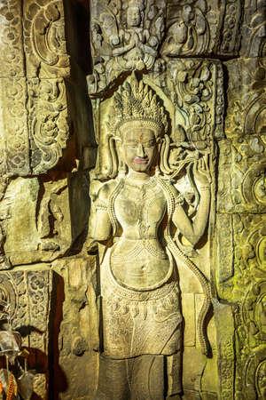 calving: Beautiful ancient calving of Apsara in Preah Khan Temple during raining outside, Siem Reap, Cambodia