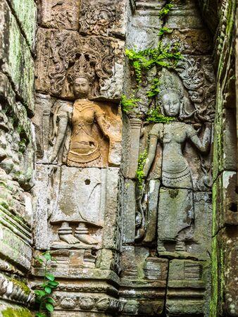 apsara: Ancient Stone Carving of Apsara at at Ankor Thom in Siem Reap, Cambodia