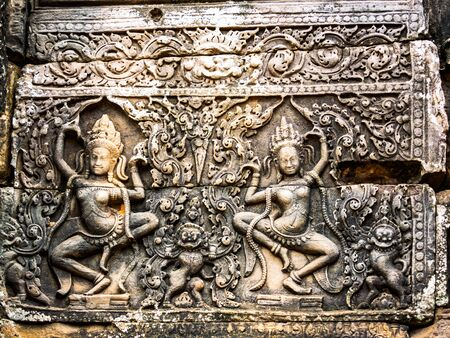 siem reap: Ancient Stone Carving at Ankor Thom in Siem Reap, Cambodia Stock Photo