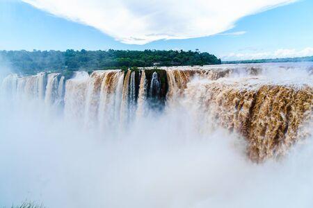 turbid: Iguazu Falls, the largest waterfalls located at the boder between Argentina and Brazi Stock Photo