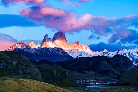chalten: Fitz Roy mountain and El Chalten Village in the morning