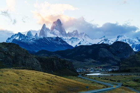 chalten: Fitz Roy mountain and El Chalten Village in the evening Stock Photo