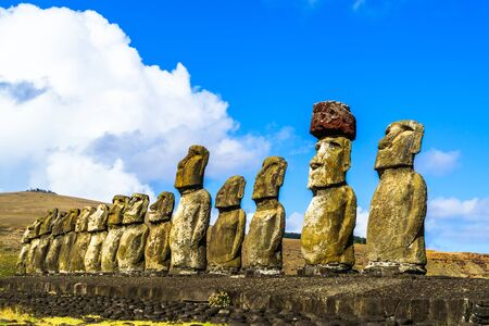 national historic site: Standing Moai at Ahu Tongariki on Easter Island, Chile