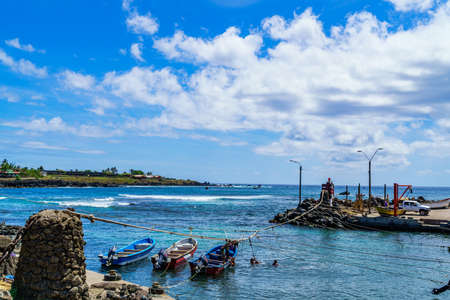 polynesia: Fishing boats at Easter Island in South Pacific Ocean, Chile