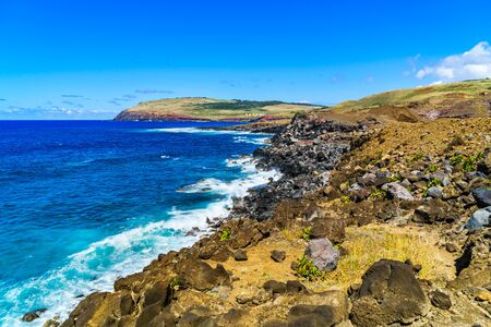 south pacific ocean: Shoreline of Easter Island with the waves of South Pacific Ocean