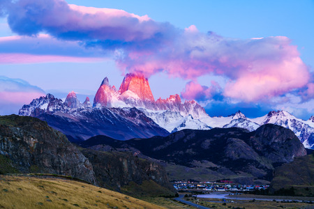 chalten: Mount Fitz Roy and El Chalten Village at sunrise Stock Photo