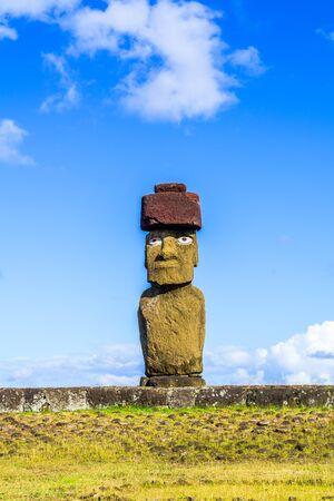 moai: Moai at Ahu Ko Te Riku in Tahat Archaeological Complex, Easter Island, Chile