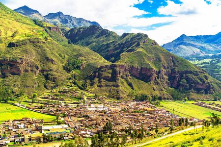 sacred valley of the incas: View of Pisac village and the Willkanuta River at the Sacred Valley of the Incas in Peru