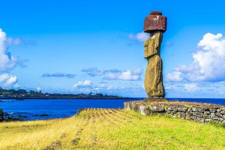 topknot: Moai at Ahu Ko Te Riku in Tahat Archaeological Complex Easter Island, Chile
