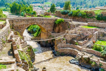 cusco province: Pre-Inca Leather Suspension Bridge at Checacupe in Cusco, peru