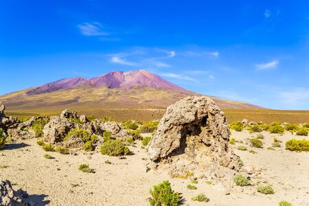 dormant: View of dormant volcano and desert in National Park, Uyuni, Bolivia