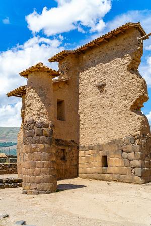 cusco region: Temple of Wiracocha  or Temple of Raqchi an Inca Archaeological Site in Cusco Region, Peru Stock Photo