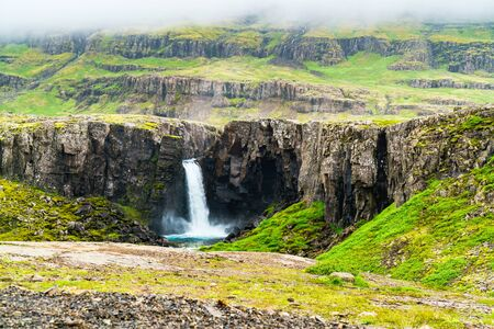 north cascade national park: View of high waterfall in north Iceland in summer