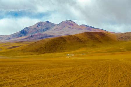View of mountain and desert in Salar de Uyuni, Bolivia Stock Photo