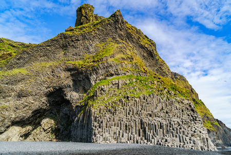 Reynisfjall, a mountain arising out of a volcanic eruption at Reynisfjoru near the village of Vik in Iceland