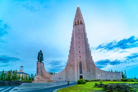 Hallgrimskirkja or the church of Hallgrimur, is a Lutheran Church located in the city of ReykjaviÌ?k in Iceland Stock Photo