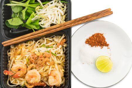 Thai style stir fried noodles or Pad Thai with shrimps