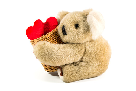 valentine s day teddy bear: Teddy bear carrying bamboo basket full of heart for valentine s day