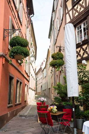 beautiful location: View of narrow lane in old town Strasbourg, France