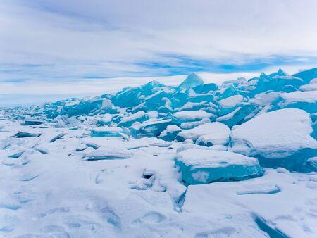 frozen lake: Ice blocks in Frozen Lake Baikal Russia