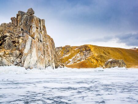 frozen lake: View of Olkhon Island in Lake Baikal, Russia