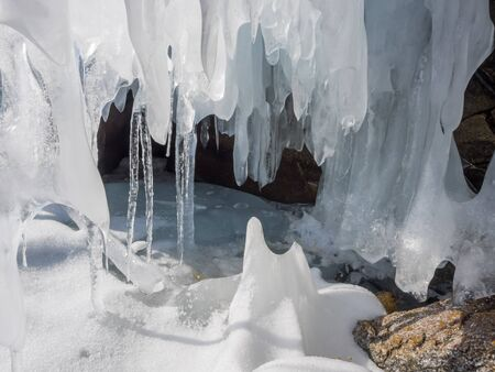 frozen lake: Icicles at Ice cave in Frozen Lake Baikal, Russia