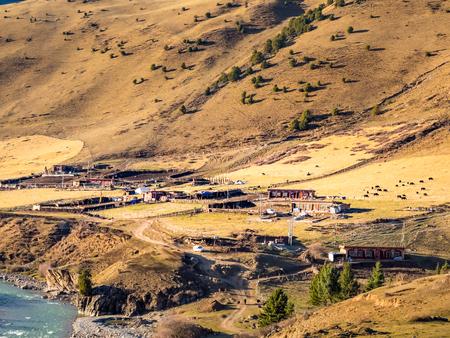 tibetan house: Small tibetan village at high mountain in Sichuan China Stock Photo