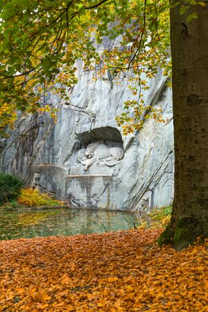 Beautiful view of Dying Lion Manument of Lucerne in Switzerland
