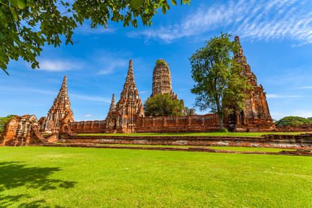 View of Wat Chai Wattanaram in Ayutthaya Thailand Stock Photo