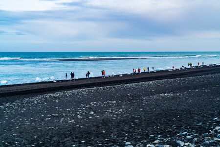 Black Beach landscape and ice blocks in Iceland