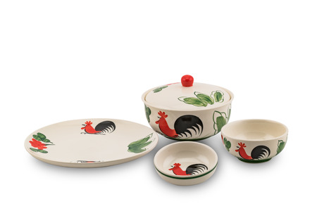Set of rooster painting ceramic tableware on white background