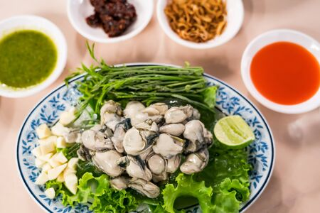 Fresh oyster, lettuce, garlic, lemongrass on a dish with various sauces Reklamní fotografie