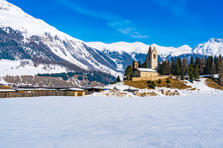 View of Switzerland Landscape with San Gian Church at the village Celerina Stock Photo