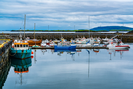 View of a marina in the morning at Grundarfjordur Village in the north of the Snaefellsnes peninsula in the west of Iceland