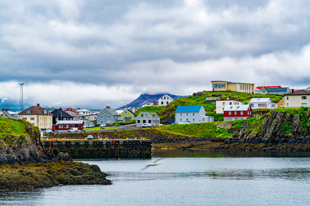 View of the harbor at Grundarfjordur Village in the north of the Snaefellsnes peninsula in the west of Iceland