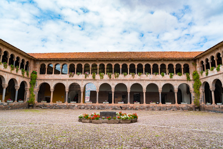 Courtyard of Convenat of Santo Domingo in Koricancha Complex in Cusco, Peru